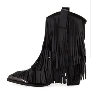 Zadig And Voltaire Womens Black Carla Fringe Boots